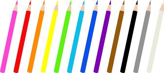 Set of Twelve Colored Pencils Free Clip Art