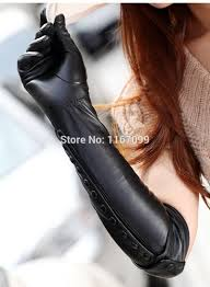 black long leather gloves for women warman dress glove with botton