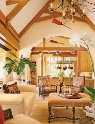 Charming Kitchen Living Room Tropical Home Decorating Ideas With Cream Fabric Upholstered Sofa Above Floor Rugs