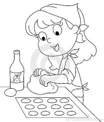 Girl baking clipart black and white