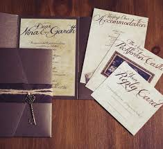 Alternative Pocket Wallet Wedding Invitation With A Dramatic Script And Old Key Charm Perfect For