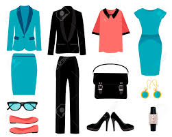 Set Of Business Clothes For Women Vector Illustration Royalty