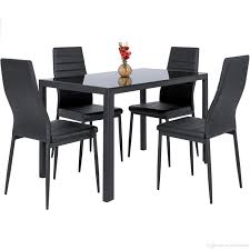 5 Piece Kitchen Dining Table Set W Glass Top And 4 Leather Chairs Dinette-  Black Luciana Presso Brown 5 Pcs Faux Marble Top Ding Table Set 30 Most Terrific Counter Height Ding High Top Room Table Camelia Espresso Round Glass With Inverted Base By Crown Mark At Dunk Bright Fniture Kitchen Amazing And Chairs Ktaxon Piece Set 4 Leather Chairsglass Fnitureblack Marble Effect Ding Table And Chairs Snnonharrodco Room Giveandgetco W Dinette Black White Rectangular Belfort Essentials Giantex Padded Metal Frame For Breakfast Verano 5pc Contemporary 45 Steve Silver Rooms Less D989 Wglass Grey Global Woptions