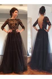4 length sleeves lace top long black mother of the bride prom