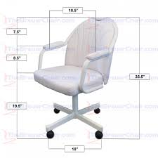 Caster Chair Company C190 Empire Casual Rolling Caster Dining Chair With  Upholstered Arms And White Polyurethane Seat And Back