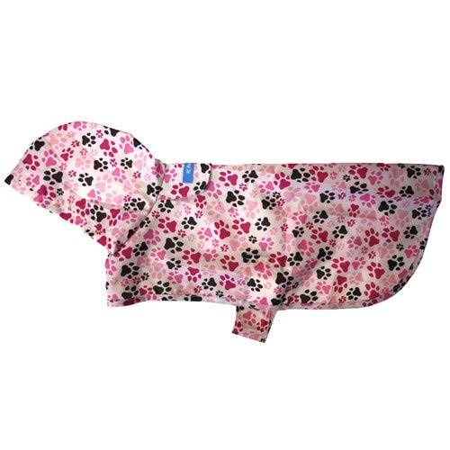 RC Pet Products Packable Dog Rain Poncho - Pitter Patter Pink, Large