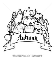 Harvest Festival Background Autumn Illustration With Seasonal Fruits And Ve ables