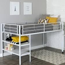 Metal Frame Loft Beds Low Loft White Metal Bed Frame With Shelves
