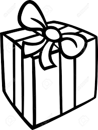 Black and White Cartoon Illustration of Christmas or Birthday Present or Gift Object Clip Art for