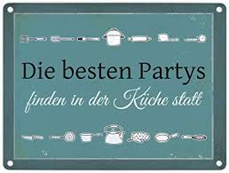 trendaffe die besten partys finden in der küche statt blechschild in 15x20 cm metallschild reklameschild dekoschild