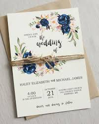 Photo 2 Of 5 Rustic Navy Wedding Invitation Suite Modern Bohemian Invite Set Floral