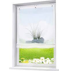 eslir raffrollo ohne bohren gardinen küche raffgardinen mit ösen transparent ösenrollo vorhänge mit glas druck voile weiß bxh 100x140cm 1 stück