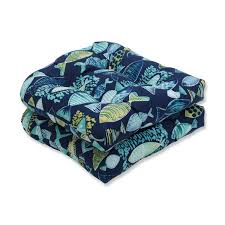 Hooked Lagoon Wicker Seat Cushion (Set Of 2), Blue, Pillow ...