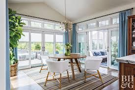 Kitchen With Large Potted Plant Sputnik Light Fixture Blue Curtains