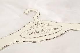Love Birds Wedding Hanger Dress Rustic Personalized Bridal Vintage Shabby Chic