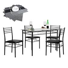 Dining Table Set With 4 Chairs | Vecelo Furniture 5 Pcs Black Metal Frame Marble Finished Top Ding Table Set 5piece Brown Wood Chairs With Cushions Kitchen Tables Winsome Fniture Iron Woodard Quick Ship Cafe Series Wrought Chair In Textured 39 Blueribbon High Back Wooden Costway Piece Breakfast Cramco Trading Company Starling Round Glass Pub W Only By Inc At Value City Details About Tempered And 36 Natural Laminate Grid Vinyl Seat Seats 4 Ktaxon Leather Chairsglass Room Fnitureblack Small And Design Ideas