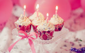Food Sweet Cupcakes Candles Pink Holiday