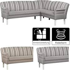 cavadore eckbank malm mit federkern für küche esszimmer oder wohnküche sitzbank im landhaus design mit armteilfunktion strukturstoff grau