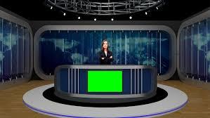 News 039 TV Studio Set Virtual Green Screen Background PSD