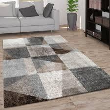 teppich wohnzimmer kurzflor modernes vintage karo muster und 3d optik beige grau
