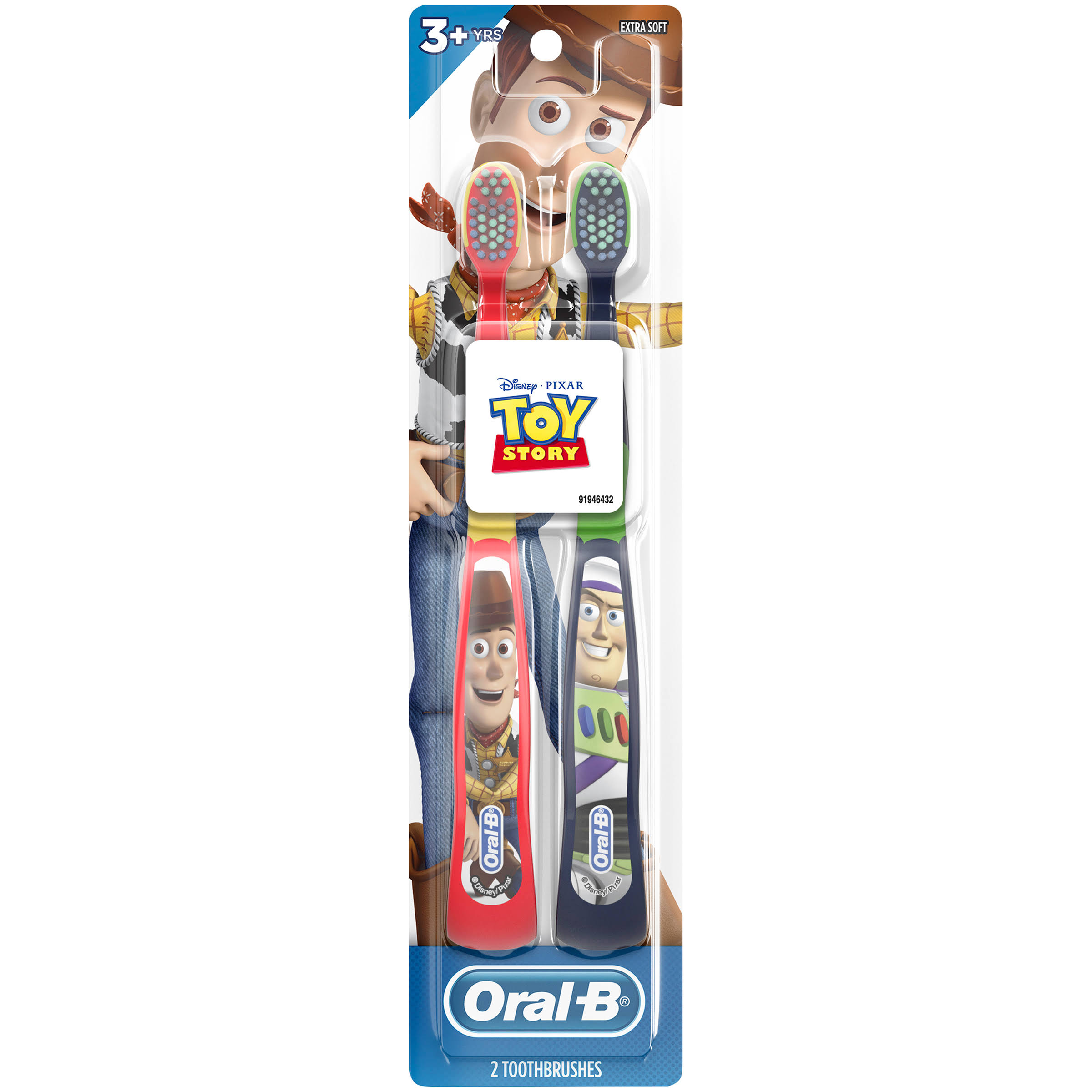 Oral-B Kids Manual Toothbrush Featuring Disney & Pixar's Toy Story, Soft Bristles, for Children and Toddlers 3+, 2 Count