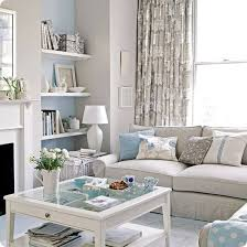 Love The White On With Sea Blue Touches In Beachy Living Room