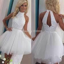 online get cheap white sparkly short prom dress aliexpress com