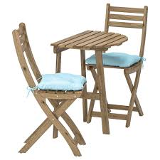 Wall Table+2 Folding Chairs,outdoor ASKHOLMEN Gray-brown Stained, Kuddarna  Light Blue Blue