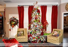 Flocked Christmas Trees Decorated by Christmas Tree Theme Show Me Decorating