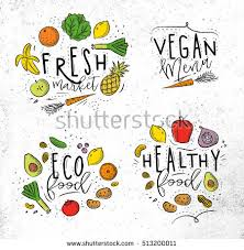 Labels eco style decorated by fruits and ve ables lettering fresh market vegan menu eco