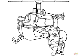 Helicopter Coloring Pages Paw Patrol Skyes Page Free Printable To Print