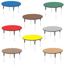 Correll Round High Pressure Laminate Daycare Activity Table With 19