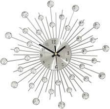 de winomo moderne metall wanduhr dekorative diamante