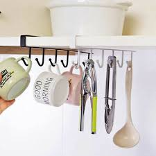 6haken cup halter hang küche schrank unter regal storage