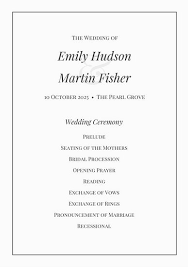 Black And White Classic Wedding Program