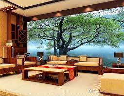 großhandel 3d moderne tapete wohnzimmer tv hintergrund wand sofa schlafzimmer tapete 3d landschaft wandbild reflexion baum kontinentale wandbild