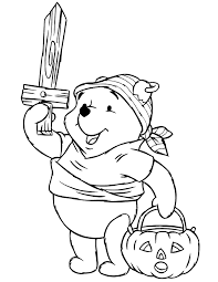 Disney Pooh Bear As Halloween Pirate Coloring Page