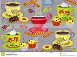 kaffee und kuchen vektor abbildung illustration cupcake