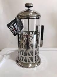 French Press Coffee Maker Italian Design Glass Silver Gnali Zani New Pitcher