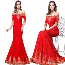 2017 new red long mermaid bridesmaid prom dresses elegant off the