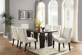 Dining Room 7pcs Set Casual Tufted White Faux Leather 6 Chairs Dark Brown  Table