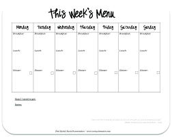 Free Printable Dinner Party Menu Templates Weekly Template Meal Planner Planners Image Blank Meals P
