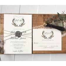 Rustic Wedding Invitation Antler Crest Wax Seal Suite Love