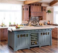 Rustic Blue Kitchen Cabinet And Beige Paint Color For French Country Decorating Ideas With Wooden