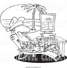 Clipart Of A Black And White Man Taking Virtual Vacation In His Office