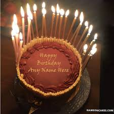 Name Happy Birthday Chocolate Cake With Candles