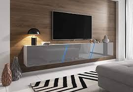 space tv lowboard grau hochglanz und weiß hängend stehend