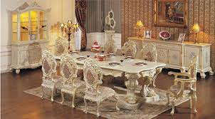 European Style Luxury Dining Room Set Solid Wood Antique White Furniture