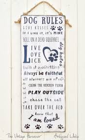Dog Rules Wood Sign Sayings Signs Hand Painted Accessories Porch Deck Art Wall