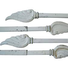 vintage swing arm curtain rods with wing finales original